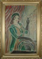 V13 Pécsi-Pilch Dezső (1888 - 1949) festménye - Cigarettás hölgy