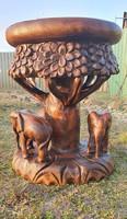 3 elefántos faragott keményfa ülő/állvány
