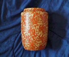 Jelzett Festett-mázas retro Tófej kerámia váza