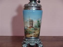Kézzel festett antik porcelán petróleum lámpa