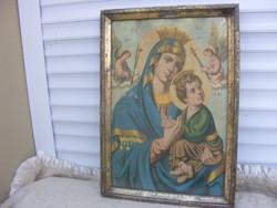 Mária a gyermek Jézussal offset+ antik keret