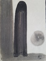 Borsos Miklós - 32 x 24 cm lavírozott tus, papír 1982