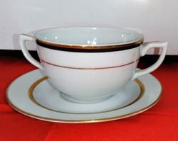 Zsolnay porcelán leveses csésze 6 darabos szett kobaltkék-arany csíkos,+ AJÁNDÉK 6 db alátét tányér
