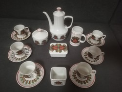 Ritka Szép páva mintás Hollóházi kávéskészlet porcelán