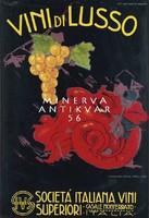 Vintage szecessziós olasz bor borászat reklám plakát reprint nyomat szőlőfürt faun vörös ördögfej