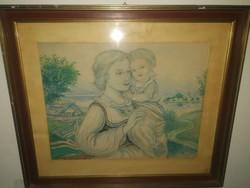 Náray Aurél(1883-1948) : Anya és gyermeke - nagyméretű antik festmény - 1 forintról, garanciával.