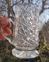 Gyönyörű antik kristály korsó , rendkívüli aprólékosan Csiszolt, antik pohàr gyüjteménybe,,vitrinbe