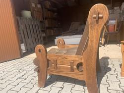 Szatmári masszív rusztikus tölgy 2 fotel és egy kanapé