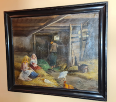 Kotsi Horváth Jolán (Koroknyai Ottóné 1858-1914) - antik festménye az 1800-as évek végéről