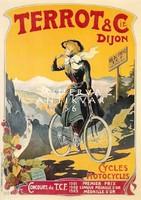 Vintage francia kerékpár bicikli reklám plakát reprint nyomat fiatal nő hegyi úton
