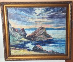 Antik festmény, szép keretben -1947-ből