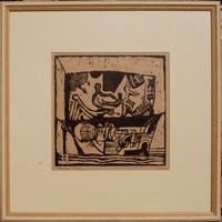 Sinkó István (1951): Charon hajója - linóleummetszet, keretezve