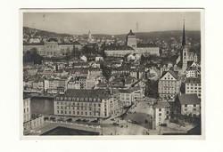 1932 Zürich Képeslap futott Svájc ból vasúti főpályaudvar Ausztriába Bécs be b6