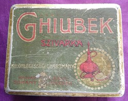 Régi Ghiubek szivarkás fémdoboz - 18x74x93 mm.