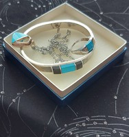 Antik ezüst -925 ös szett, karkötő, nyaklánc medállal, gyűrű türkiz és onix kővel, jelzett, hibátlan