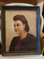 Festmény egy szép nőről, olaj, vászon, szignót nem látok...