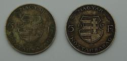 2 db Kossuth 5 Ft-os pénzérme 1947-es