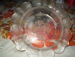Virágkosaras nyomott mintás üveg tál tányér hibátlan 19cm.
