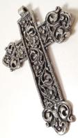 Régi ezüstözött fém kereszt / nagyméretű medál 9,5x7 cm