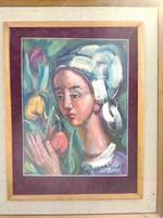 Józsa János Fiatal lány tulipánnal