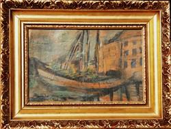 T.J.: Kikötői részlet - antik festmény keretezve