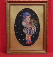 Kislány virágcsokorral - Régi, nagyon szépen elkészített gobelin munka antik, üvegezett keretben