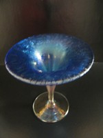 Irizáló, repesztett díszes Joska kristály talpas váza, díszüveg