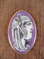 Hollóházi Szász Endre porcelán lila medál