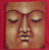 Buddha I. - Indonéziából származó Buddha ábrázolás vörösben (olaj-vászon), 60 x 50 cm