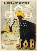 Vintage szecessziós cigaretta reklám plakát reprint nyomat JOB elegáns nő fekete köpeny füst dohány