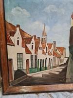 Olaj vászon  Utcarészlet festmény