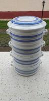 Antik porcelán ételhordó.Talán Zsolnay kékcsíkos.
