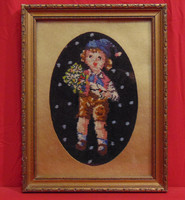 Kisfiú virágcsokorral - Régi, nagyon szépen elkészített gobelin munka antik, üvegezett keretben
