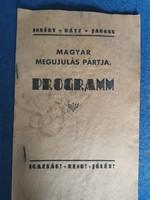 """""""Magyar Megujulás Pártja Programm"""" 1940-es eredeti kiadvány"""