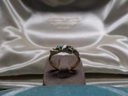 Zománcos arany gyűrű türkizekkel
