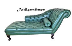 A297 Gyönyörű eredeti chesterfield bőr kanapé, szófa