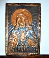 Jézust és Szűz Máriát ábrázoló réz domborművek