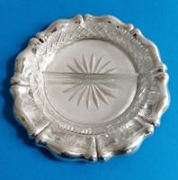 Ezüst kínáló tál üvegbetéttel