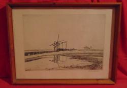 Zádor István (1882-1963) Gémeskút a pusztában, 1926 (rézkarc) üvegezett keretben