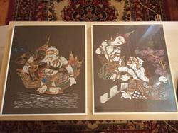 Indiai Mitológiai ( Kama Sutra) témájú kézzel festett dupla selyem kép.
