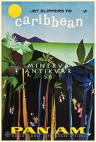 Retro utazási reklám Karib szigetek pálmafa őserdő dzsungel színes emberkék Vintage plakát reprint