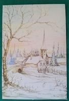 Szép,csillámos karácsonyi képeslap,postatiszta