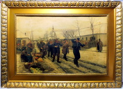 BIHARI SÁNDOR ( 1855-1906 ) A FALU ROSSZA ... cca 100 ÉVES HATALMAS REPRODUKCIÓ ! EREDETI CIMKÉVEL