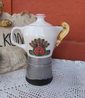 Hollóházi Seherezádé kotyogós porcelán kávéfőző nosztalgia darab paraszti dekoráció