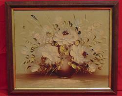 'Virágözön barna vázában ' - Nagyon szép, harmonikus csendélet, olaj-farost alkotás