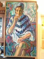 Józsa János festőművész Női portré ponchóban
