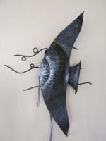 Iparművész hal alakú nagy méretű fém fali lámpa