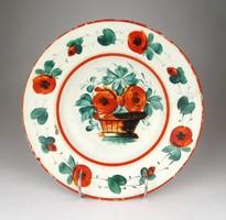 1D816 Antik virágos Hollóházi porcelán falitányér 23 cm