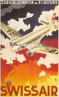 Vintage utazási hirdetés légitársaság reklám plakát reprint nyomat repülő Swissair felhők ég