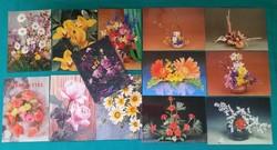 13 darab postatiszta virágos képeslap
